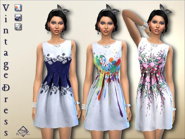 Sims 4 Vintage Dress by Devirose at TSR