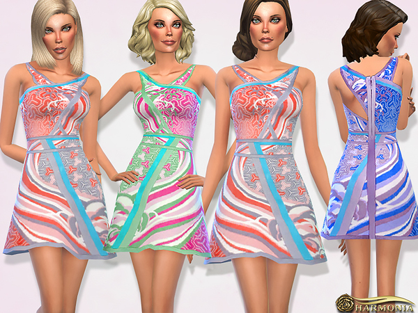Sims 4 Designer Stretch knit Multicolored Dress by Harmonia at TSR