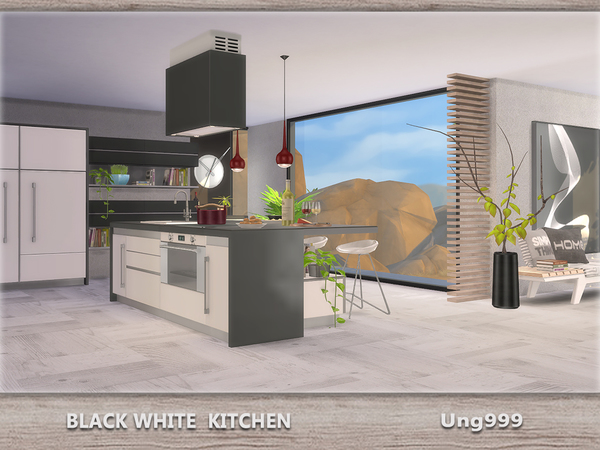 Sims 4 Black White Kitchen by ung999 at TSR