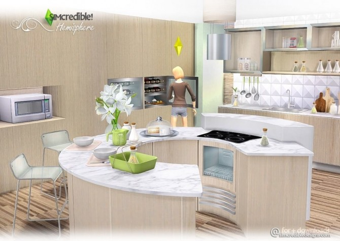 Hemisphere kitchen at simcredible designs 4 sims 4 updates for Kitchen ideas sims 4