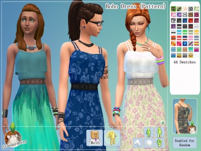 Sims 4 Boho Dress Solid & Pattern by Standardheld at SimsWorkshop