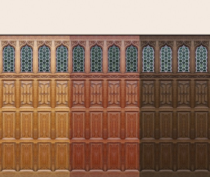 Sims 4 Bruges Gothic/Tudor Panels 3 colours by Velouriah at Mod The Sims