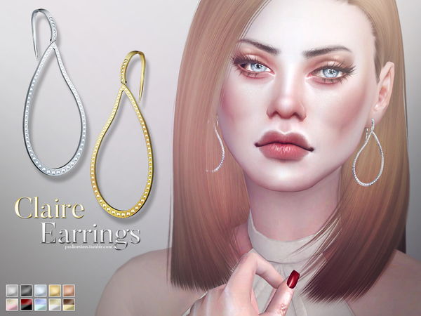 Sims 4 Claire Earrings by Pralinesims at TSR
