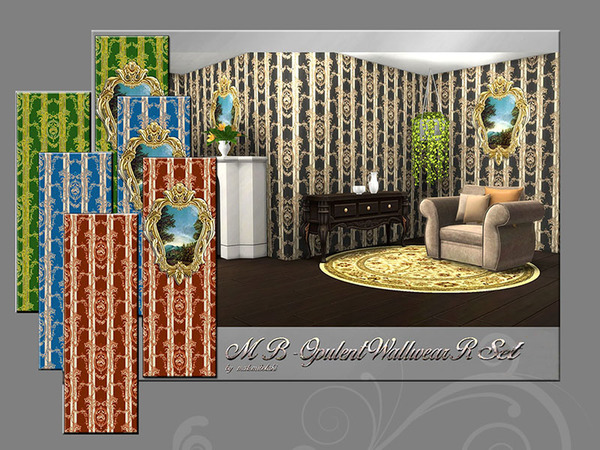 Sims 4 MB Opulent Wallwear R Set by matomibotaki at TSR
