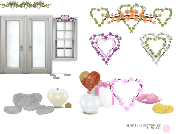Sims 4 Heart And Flowers Set by DOT at TSR