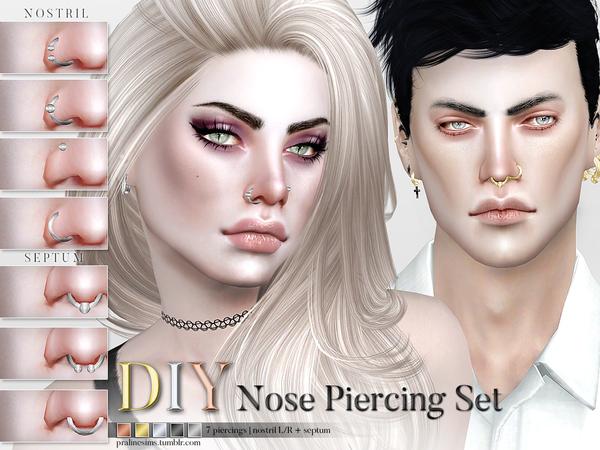Sims 4 DIY Nose Piercing Set by Pralinesims at TSR