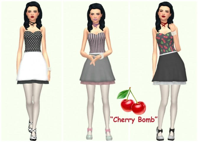 Sims 4 Cherry Bomb Dress by Annabellee25 at SimsWorkshop