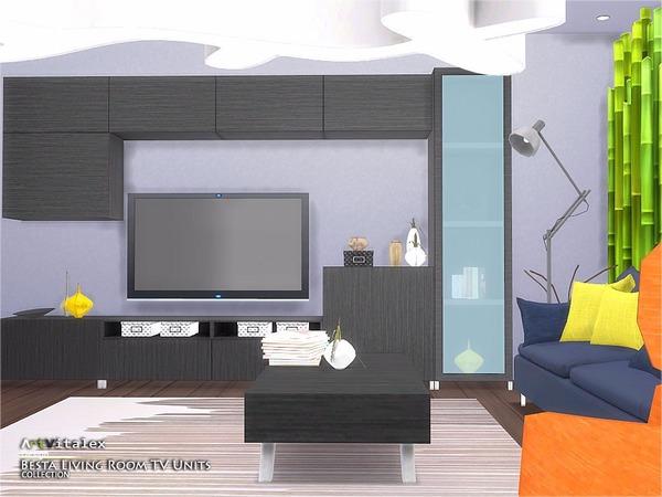 Sims 4 Besta Living Room TV Units by ArtVitalex at TSR