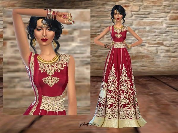 crimson red lengha by juxtaposition at tsr  u00bb sims 4 updates