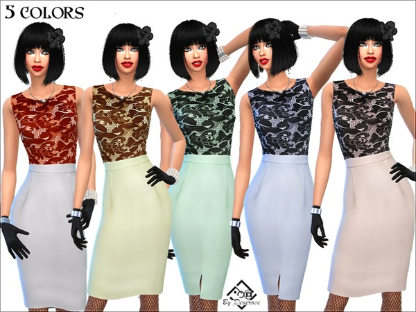 Sims 4 Dress Soft Chic by Devirose at TSR