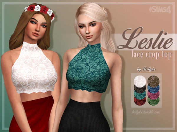 Leslie Lace Crop Top by Trilly21 at TSR image 5516 Sims 4 Updates