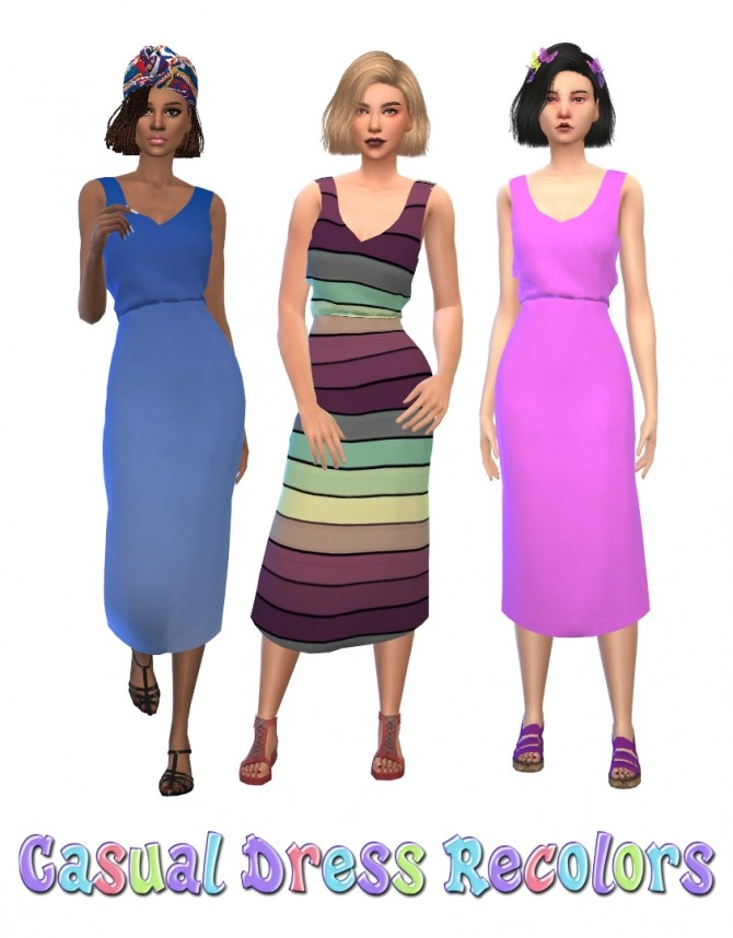 Sims 4 Casual Dress Recolors by maimouth at SimsWorkshop