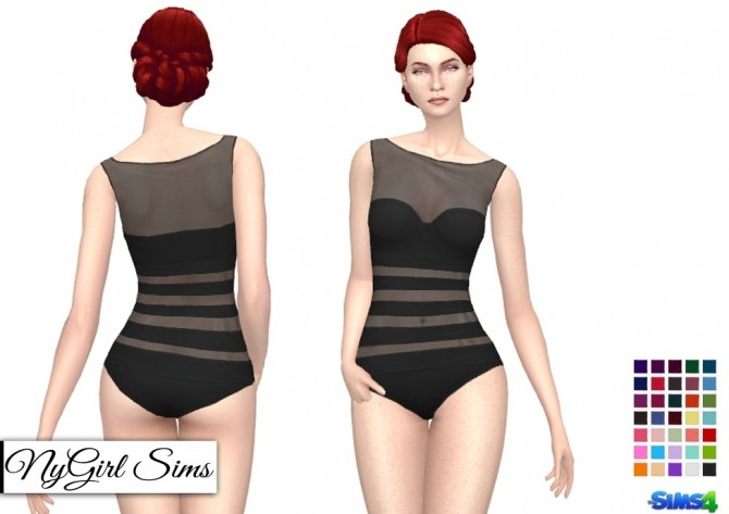 Sims 4 Sheer Panel One Piece Swimsuit at NyGirl Sims