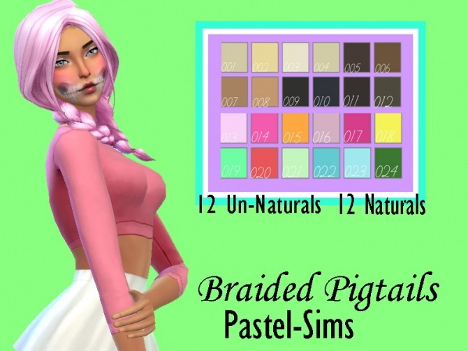 Pastel sims Braided Pigtails by Lovelysimmer100 at TSR image 5811 670x503 Sims 4 Updates