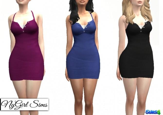 Sims 4 Ribbed Racerback Collared Dress at NyGirl Sims