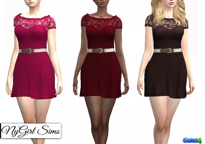 Sims 4 Belted Ruffle Flare Dress at NyGirl Sims