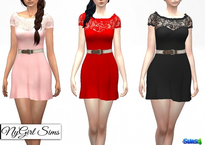 belted ruffle flare dress at nygirl sims sims 4 updates. Black Bedroom Furniture Sets. Home Design Ideas