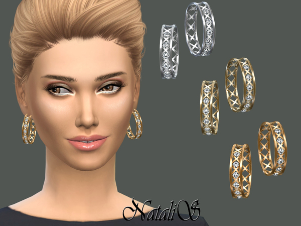 Cage and crystals hoop earrings by NataliS at TSR image 6412 Sims 4 Updates