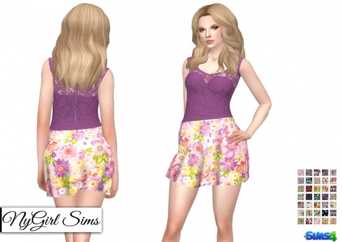 Strapless Dress with Lace Tank Overlay in Prints at NyGirl Sims image 65 670x473 Sims 4 Updates