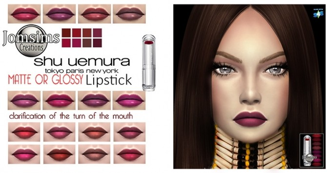 Sims 4 Matte or glossy lipstick at Jomsims Creations