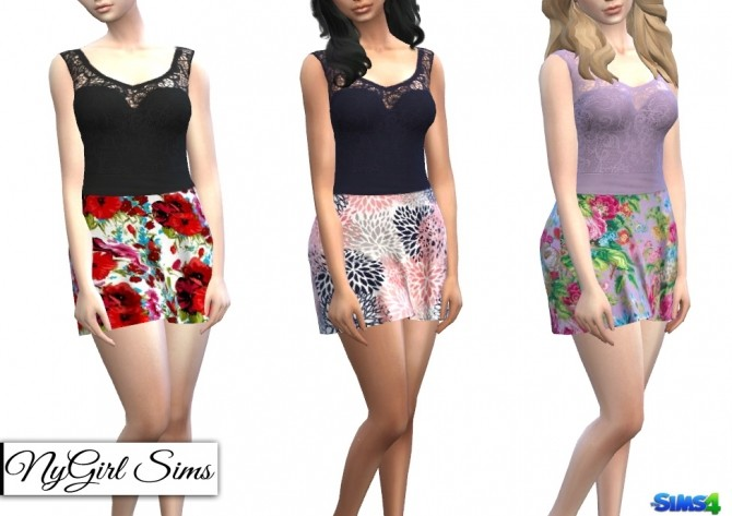 Strapless Dress with Lace Tank Overlay in Prints at NyGirl Sims image 66 670x473 Sims 4 Updates