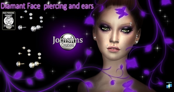 Sims 4 Diamond face and ear piercings at Jomsims Creations
