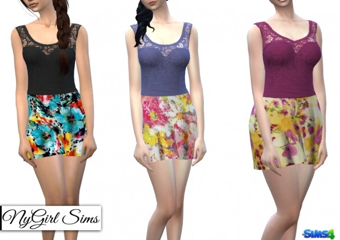 Strapless Dress with Lace Tank Overlay in Prints at NyGirl Sims image 67 670x473 Sims 4 Updates
