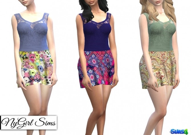 Strapless Dress with Lace Tank Overlay in Prints at NyGirl Sims image 68 670x473 Sims 4 Updates