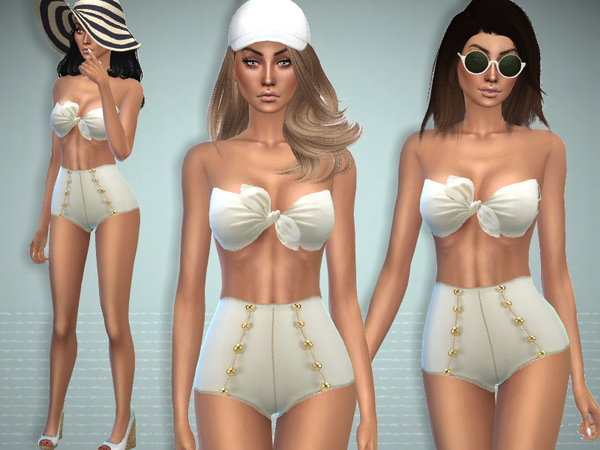 Sims 4 High Waist Swimsuit by Puresim at TSR