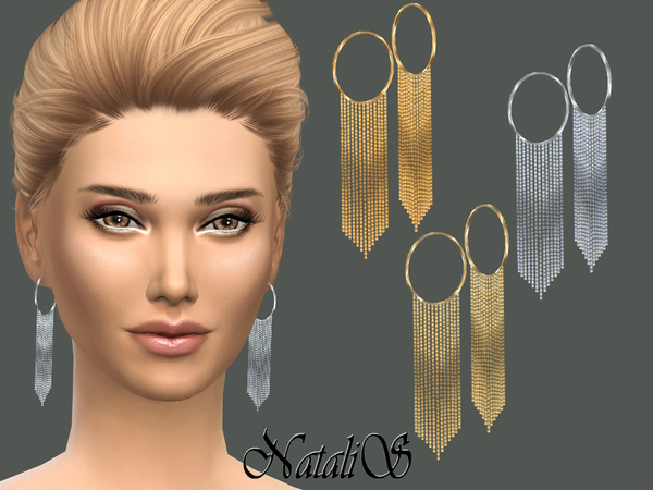 Sims 4 Hanging chain drop earrings by NataliS at TSR