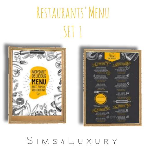 Sims 4 Restaurant Menu set 1 at Sims4 Luxury