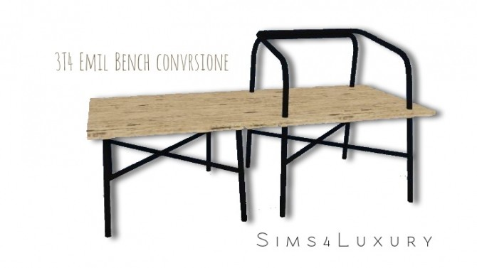 Sims 4 3T4 Emil Bench conversion at Sims4 Luxury