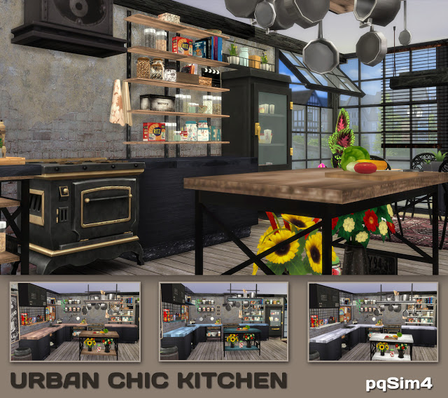 Sims 4 Urban Chic Kitchen by Mary Jimenez at pqSims4
