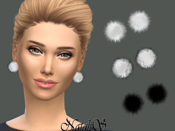 Sims 4 Fur ball stud earrings by NataliS at TSR