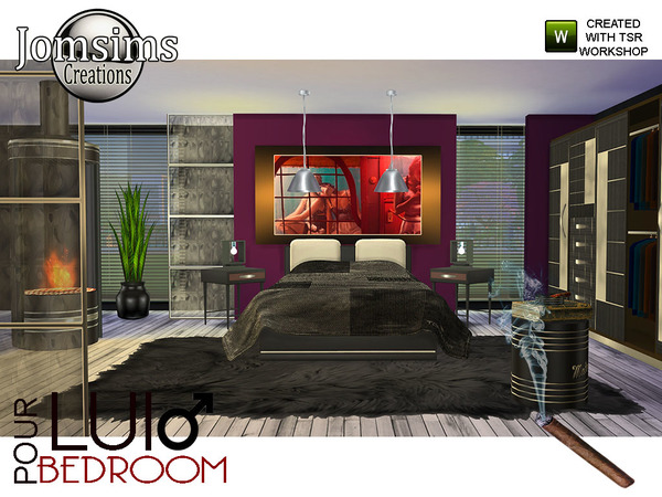 Sims 4 Pour Lui Bedroom by jomsims at TSR
