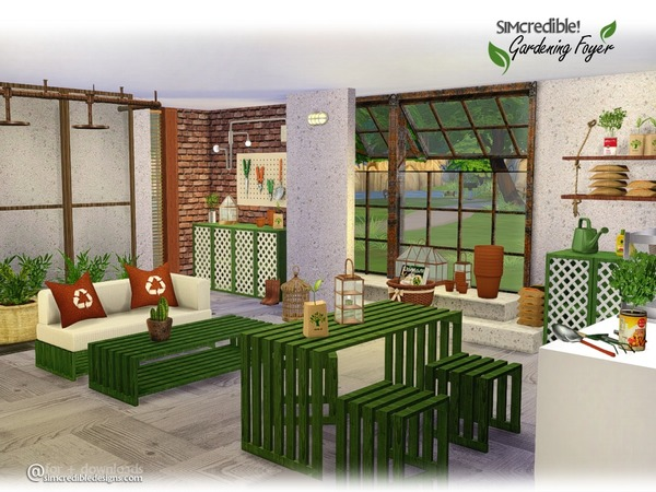 Gardening foyer by simcredible at tsr sims 4 updates for Sims 4 exterior design