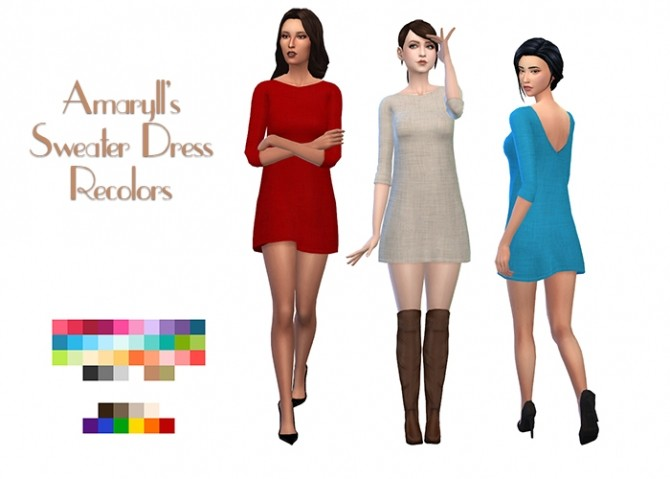 Amarylls Sweater Dress Recolors by deelitefulsimmer at SimsWorkshop image 9312 670x479 Sims 4 Updates