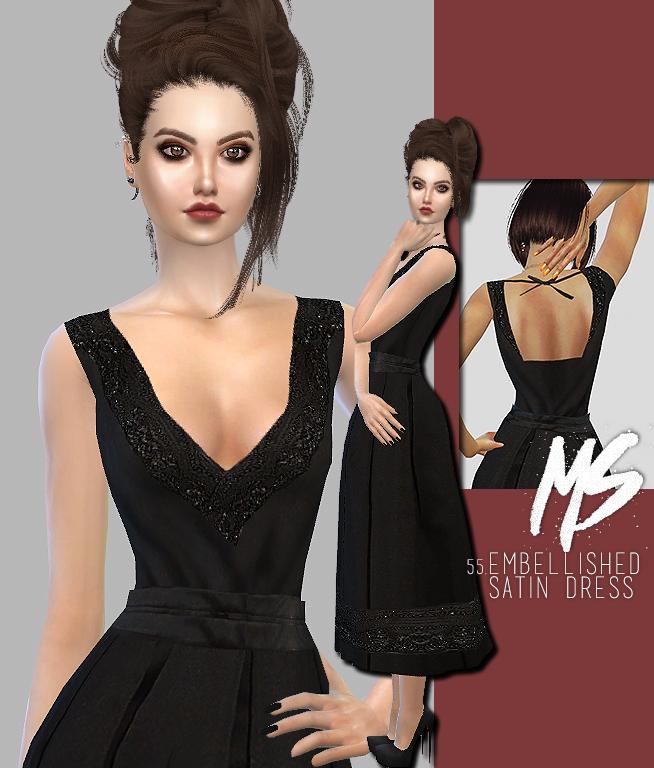 Sims 4 Embellished satin dress at Merakisims