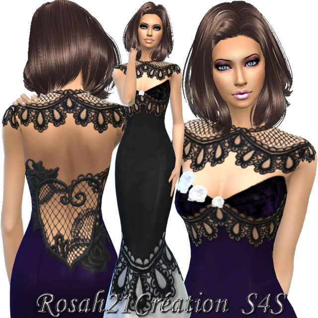 Sims 4 Lace gown by Rosah21 at Sims Dentelle