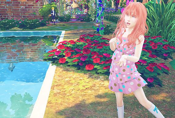 Sims 4 Animate hair 65 Rika kids at Studio K Creation