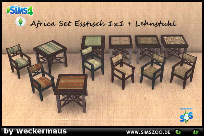 Africa chair and table by weckermaus at Blacky's Sims Zoo image 1079 Sims 4 Updates