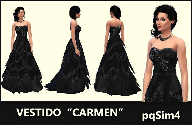 Sims 4 Carmen dress by Mary Jiménez at pqSims4