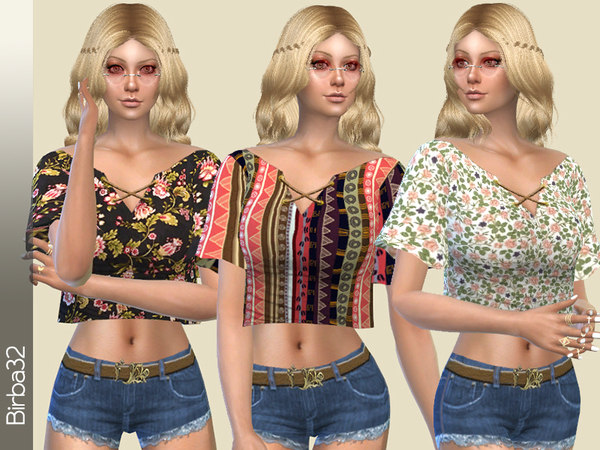 Sims 4 Hippie Floral Top by Birba32 at TSR