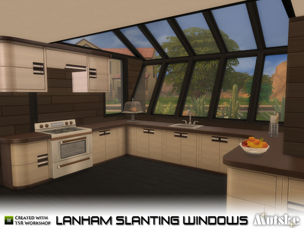 Sims 4 Lanham Slanting Windows by mutske at TSR