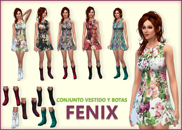 Sims 4 Fenix dress and boots at pqSims4