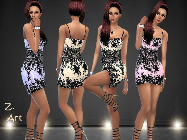 Black Embroidery dress by Zuckerschnute20 at TSR image 1129 Sims 4 Updates