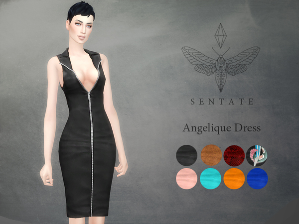 Sims 4 Angelique Dress by Sentate at TSR