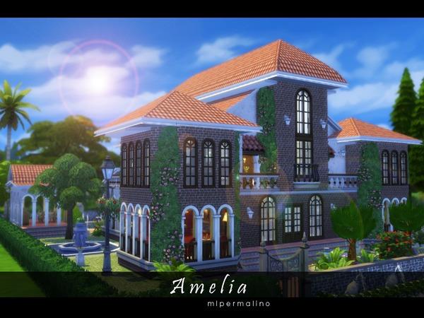 Sims 4 Amelia house by mlpermalino at TSR