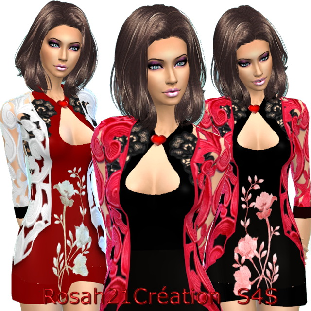 Sims 4 Dress and vest by Rosah at Sims Dentelle