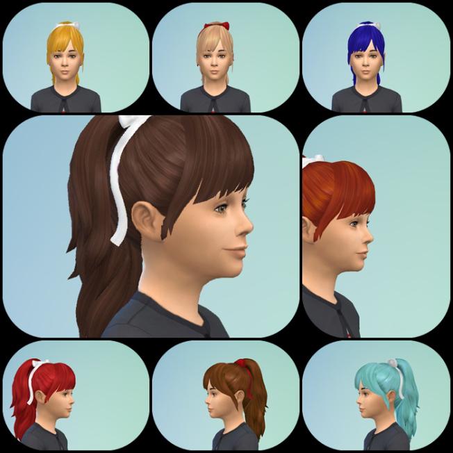 Sims 4 PonyBow & Bangs hair at Birksches Sims Blog